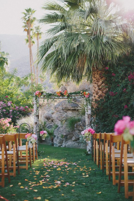 tropical ceremony setup, photo by rad + in love
