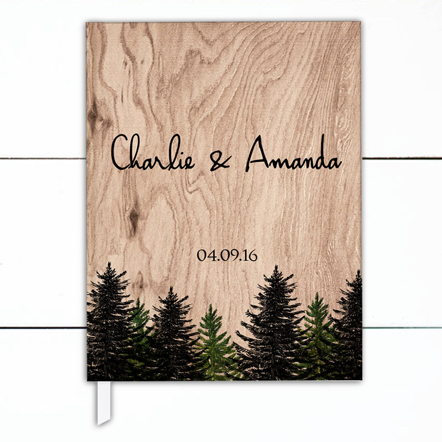 woodsy wedding guest book