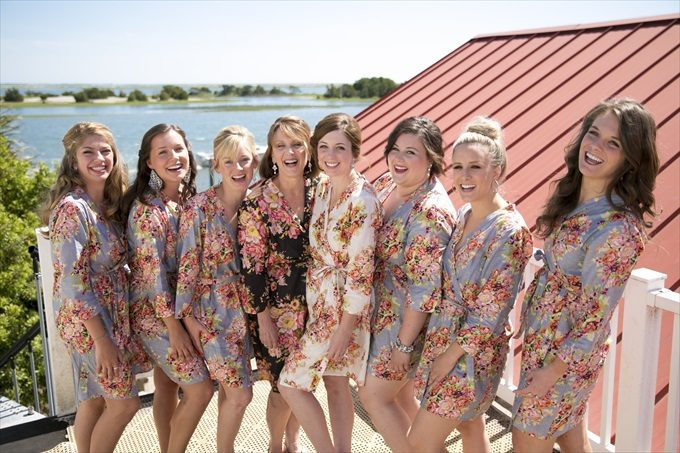 bridal party robes in this Crystal Coast Wedding | North Carolina wedding photographed by Ellen LeRoy Photography - http://emmalinebride.com/real-weddings/breathtaking-crystal-coast-wedding-mara-will-married/
