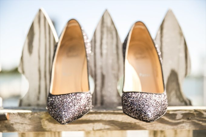 bride's glittery heels in this Crystal Coast Wedding | North Carolina wedding photographed by Ellen LeRoy Photography - https://emmalinebride.com/real-weddings/breathtaking-crystal-coast-wedding-mara-will-married/
