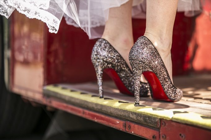 bride's glittery heels in this Crystal Coast Wedding | North Carolina wedding photographed by Ellen LeRoy Photography - http://emmalinebride.com/real-weddings/breathtaking-crystal-coast-wedding-mara-will-married/