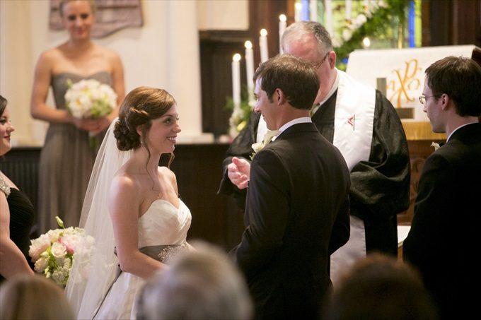bride and groom at church alter in this Crystal Coast Wedding | North Carolina wedding photographed by Ellen LeRoy Photography - http://emmalinebride.com/real-weddings/breathtaking-crystal-coast-wedding-mara-will-married/