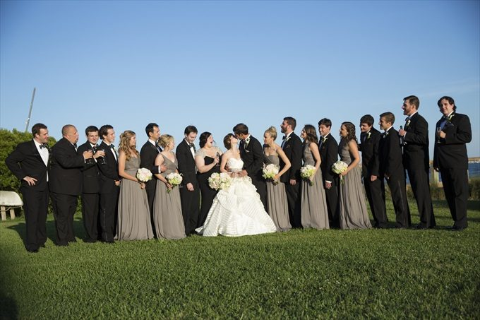 bridal party photograph in this Crystal Coast Wedding | North Carolina wedding photographed by Ellen LeRoy Photography - http://emmalinebride.com/real-weddings/breathtaking-crystal-coast-wedding-mara-will-married/