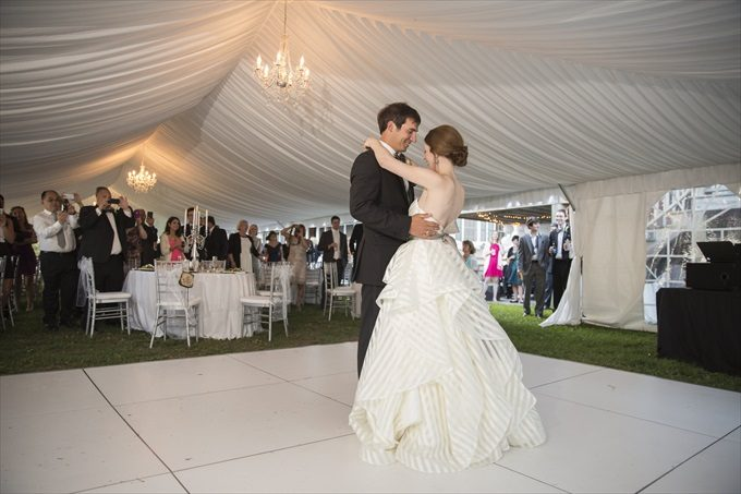 bride and groom's first dance in this Crystal Coast Wedding | North Carolina wedding photographed by Ellen LeRoy Photography - http://emmalinebride.com/real-weddings/breathtaking-crystal-coast-wedding-mara-will-married/