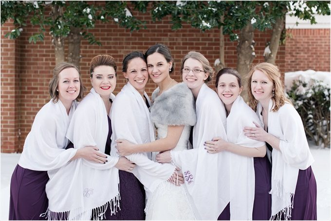 bride and bridesmaids with pashminas in this Sedgefield Country Club wedding| Greensboro, North Carolina wedding photographed by Michelle Robinson Photography - https://emmalinebride.com/real-weddings/sedgefield-country-club-wedding/
