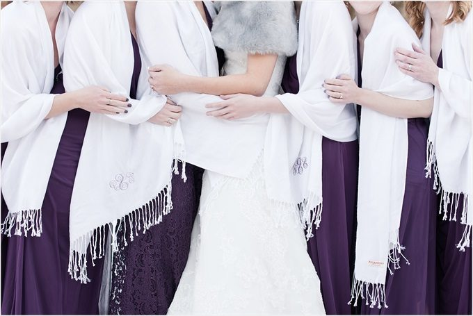 bridesmaids custom pashminas in this Sedgefield Country Club wedding| Greensboro, North Carolina wedding photographed by Michelle Robinson Photography - https://emmalinebride.com/real-weddings/sedgefield-country-club-wedding/