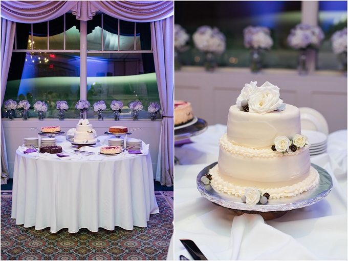 dessert table and wedding cake at this Sedgefield Country Club wedding| Greensboro, North Carolina winter wedding photographed by Michelle Robinson Photography - https://emmalinebride.com/real-weddings/sedgefield-country-club-wedding/