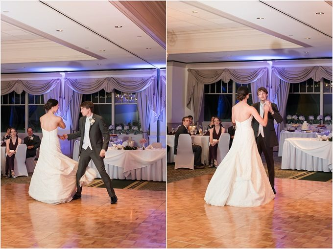 bride and groom's first dance at this Sedgefield Country Club wedding| Greensboro, North Carolina winter wedding photographed by Michelle Robinson Photography - https://emmalinebride.com/real-weddings/sedgefield-country-club-wedding/