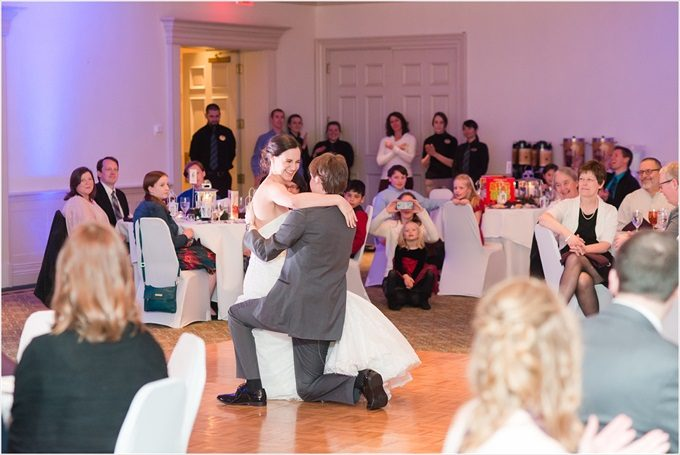 bride and groom dance at this Sedgefield Country Club wedding| Greensboro, North Carolina winter wedding photographed by Michelle Robinson Photography - https://emmalinebride.com/real-weddings/sedgefield-country-club-wedding/