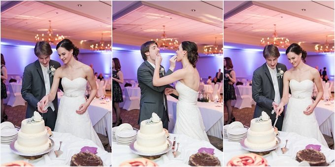 bride and groom cut the wedding cake at this Sedgefield Country Club wedding| Greensboro, North Carolina winter wedding photographed by Michelle Robinson Photography - https://emmalinebride.com/real-weddings/sedgefield-country-club-wedding/