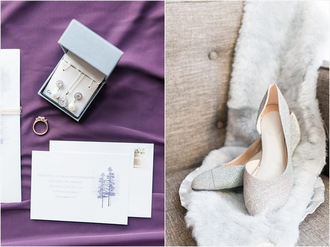 bride's heels and jewelry in this Sedgefield Country Club wedding| Greensboro, North Carolina wedding photographed by Michelle Robinson Photography - https://emmalinebride.com/real-weddings/sedgefield-country-club-wedding/