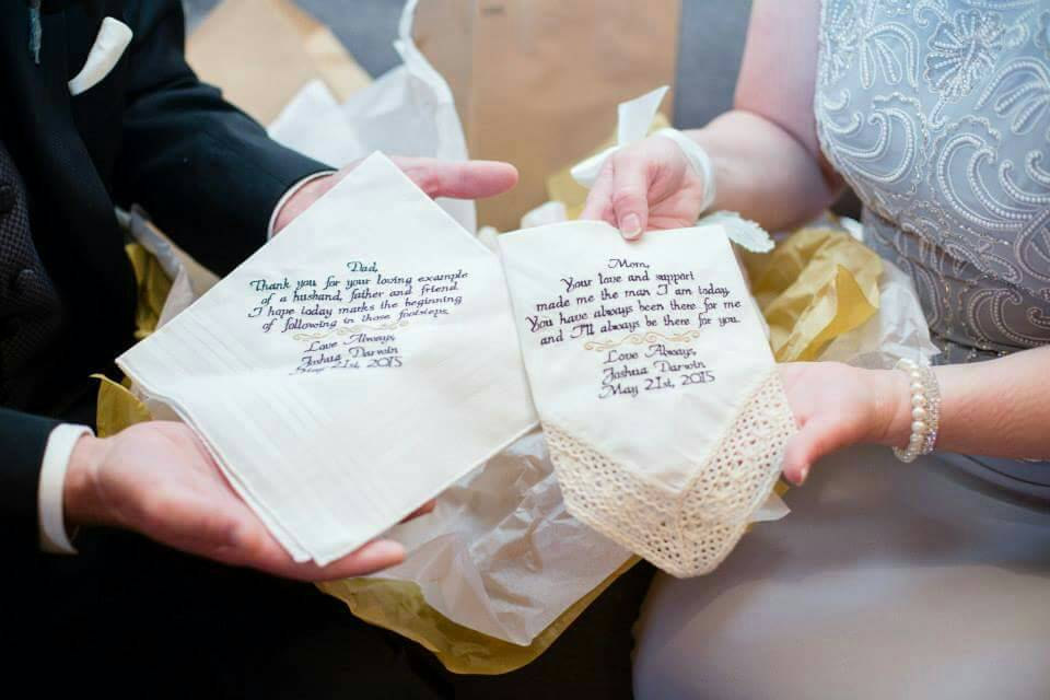 father & mother of the bride handkerchief set