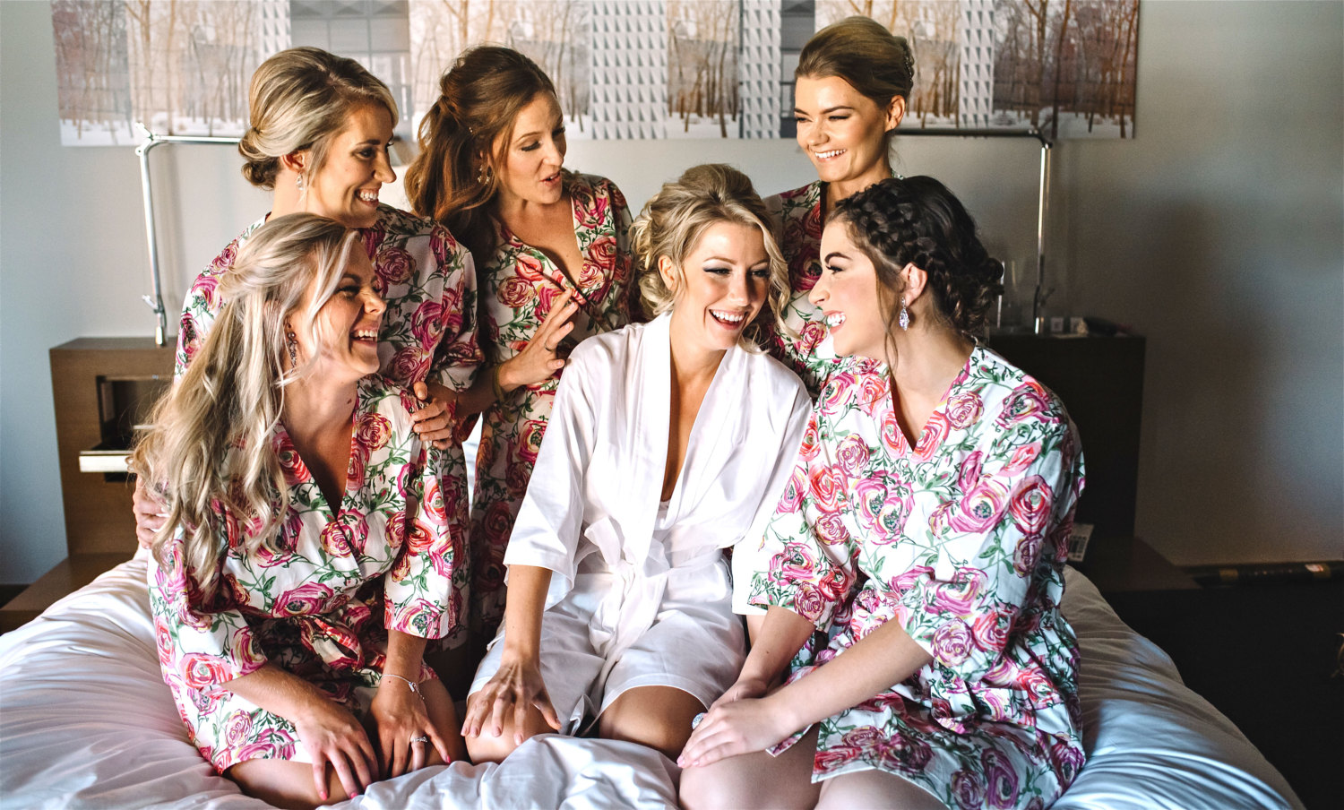 Beautiful Floral Bridesmaid Robe Sets | pink rose wedding ideas