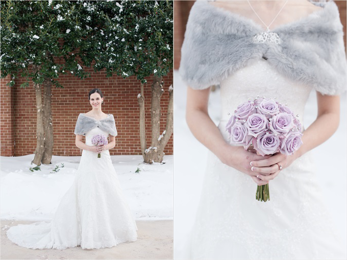winter wedding with bride and her bouquet in this Sedgefield Country Club wedding| Greensboro, North Carolina wedding photographed by Michelle Robinson Photography - https://emmalinebride.com/real-weddings/sedgefield-country-club-wedding/