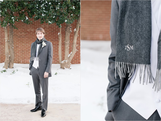 groom with monogram scarf in this Sedgefield Country Club wedding| Greensboro, North Carolina winter wedding photographed by Michelle Robinson Photography - https://emmalinebride.com/real-weddings/sedgefield-country-club-wedding/