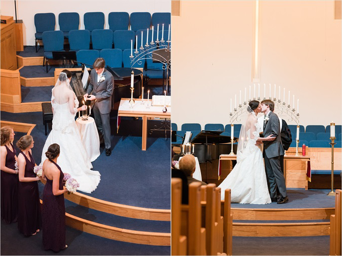 bride and groom kiss in the church at this Sedgefield Country Club wedding| Greensboro, North Carolina winter wedding photographed by Michelle Robinson Photography - https://emmalinebride.com/real-weddings/sedgefield-country-club-wedding/