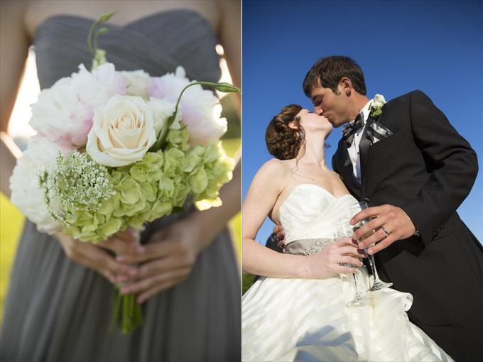bride's bouquet and kiss with groom in this Crystal Coast Wedding | North Carolina wedding photographed by Ellen LeRoy Photography - http://emmalinebride.com/real-weddings/breathtaking-crystal-coast-wedding-mara-will-married/