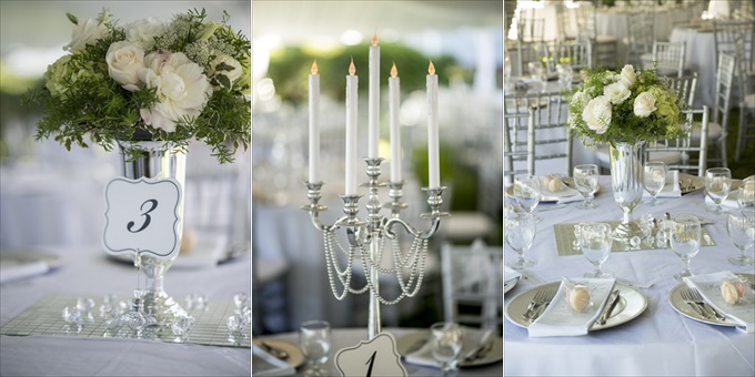 silver wedding reception table decorations in this Crystal Coast Wedding | North Carolina wedding photographed by Ellen LeRoy Photography - http://emmalinebride.com/real-weddings/breathtaking-crystal-coast-wedding-mara-will-married/