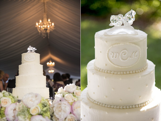 wedding cake in this Crystal Coast Wedding | North Carolina wedding photographed by Ellen LeRoy Photography - https://emmalinebride.com/real-weddings/breathtaking-crystal-coast-wedding-mara-will-married/