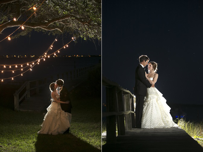 bride and groom photographed at night in this Crystal Coast Wedding | North Carolina wedding photographed by Ellen LeRoy Photography - https://emmalinebride.com/real-weddings/breathtaking-crystal-coast-wedding-mara-will-married/