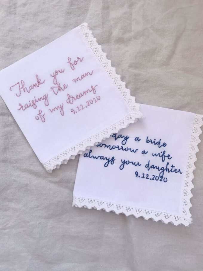 mother of the bride handkerchief from daughter