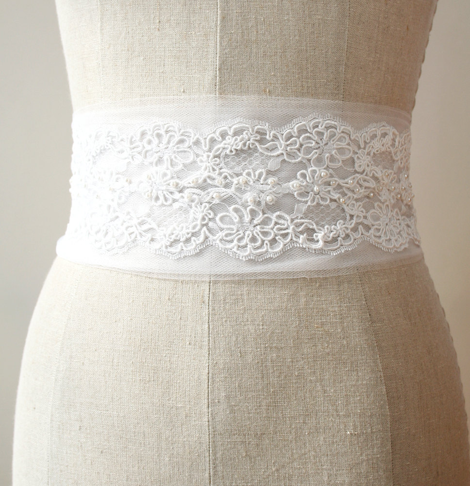 white lace bridal sash by laura stark designs