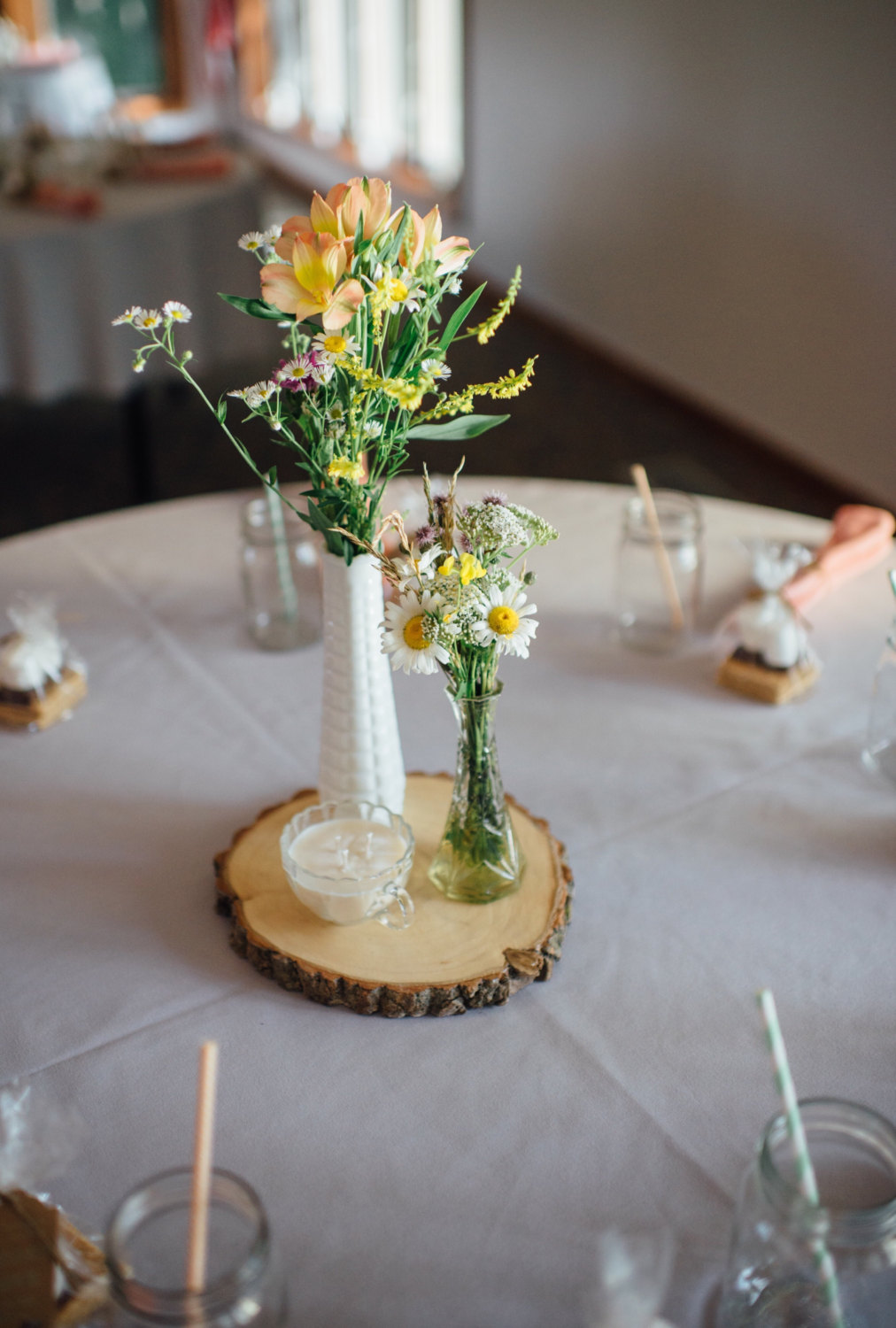 wood slices for wedding centerpieces