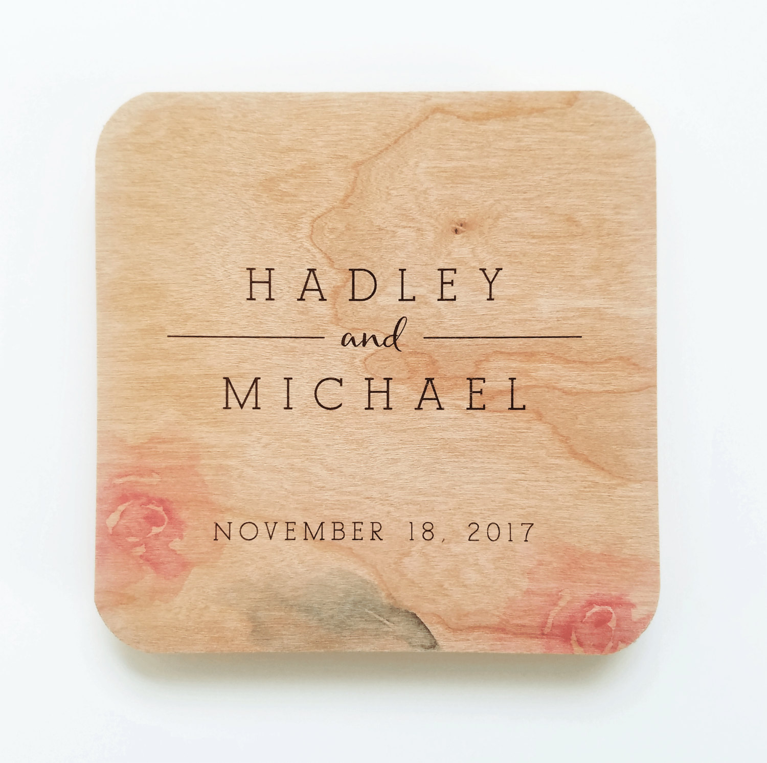 rose watercolor wedding invitations, coasters and more