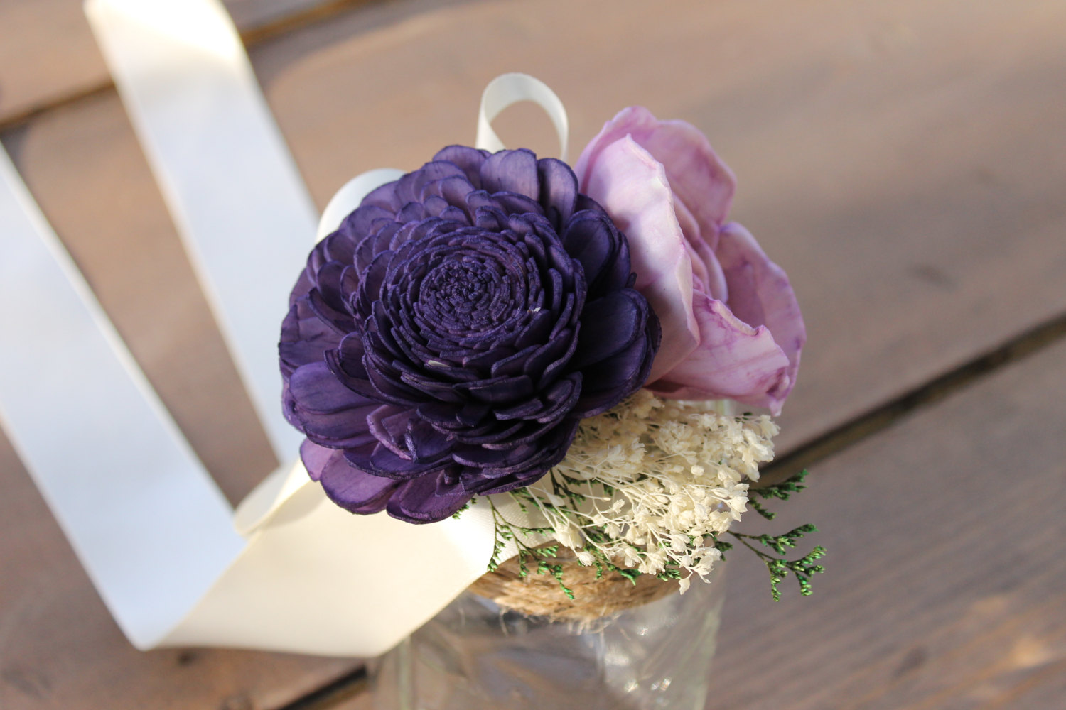 purple and grey wedding bouquet