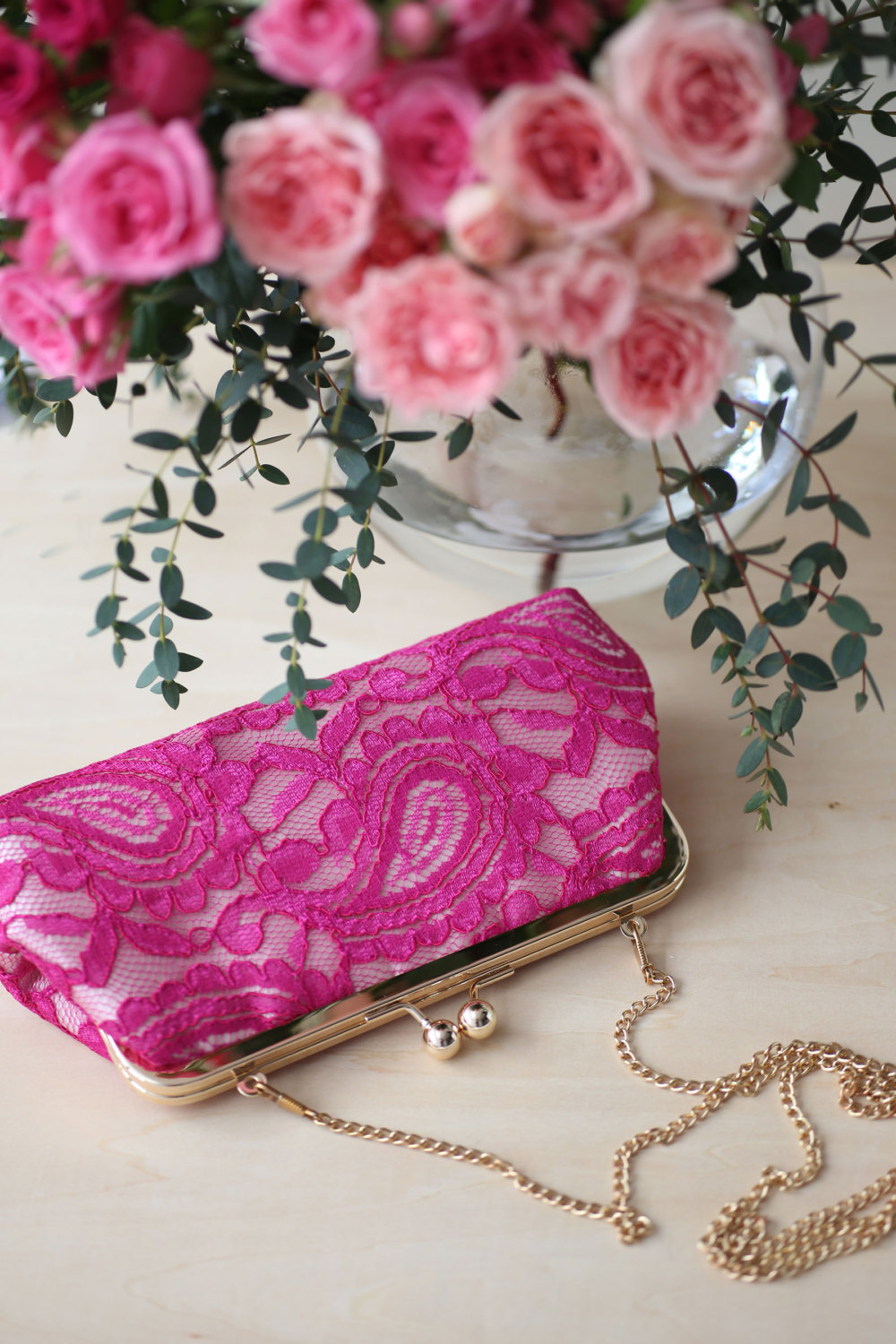 fuchsia clutch purse by ANGEE W.