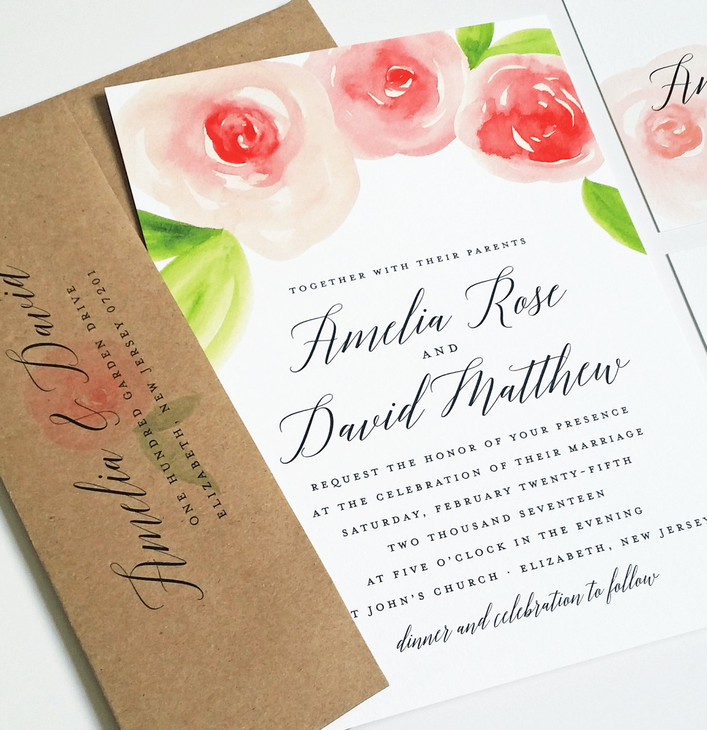 rose watercolor wedding invitations