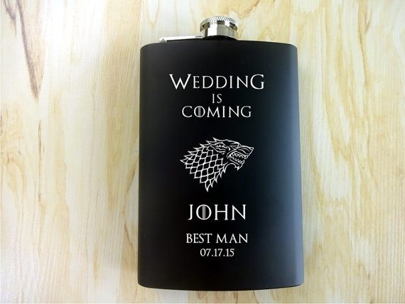 game of thrones flask via 26 Best Groomsmen Flasks That Make Awesome Gifts