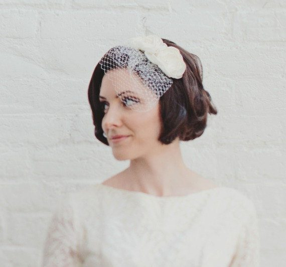 birdcage veil for short hair