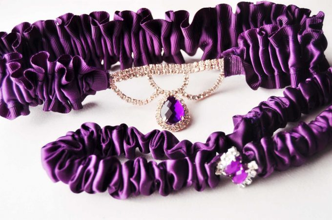 purple - beautiful wedding garters by Knotted & Bent