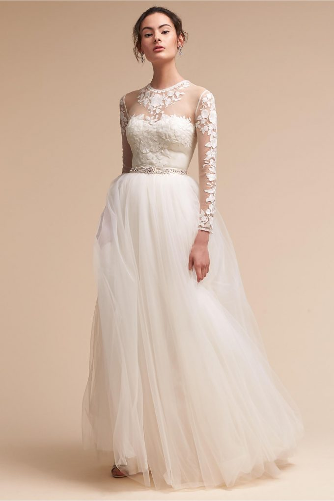 wedding dress with bodysuit and skirt