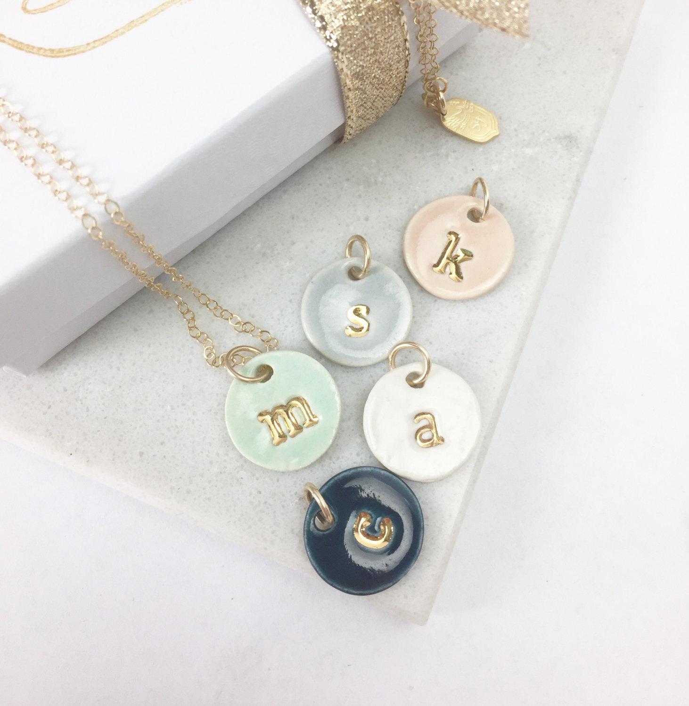 ceramic initial necklaces
