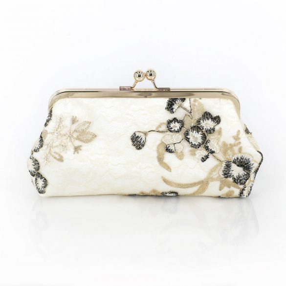 black, white and gold clutch purse by angee w