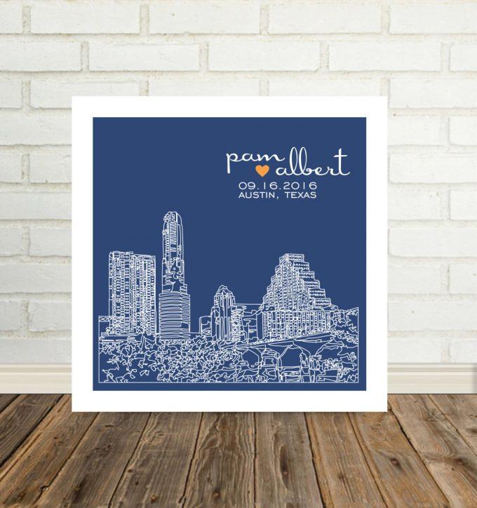 city skyline wall art austin texas