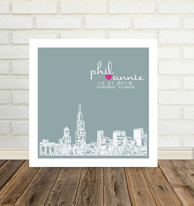 city skyline wall art chicago illinois