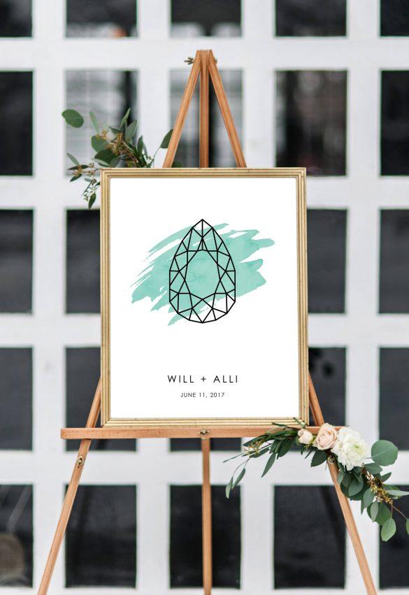 modern wedding welcome sign / guest book alternative by flutterbye prints via emmalinebride.com