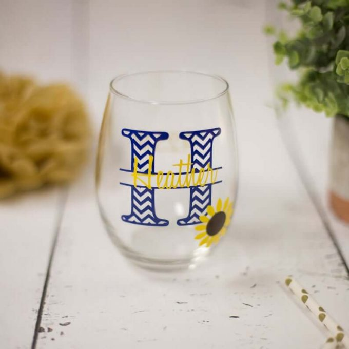 sunflower wedding wine glass