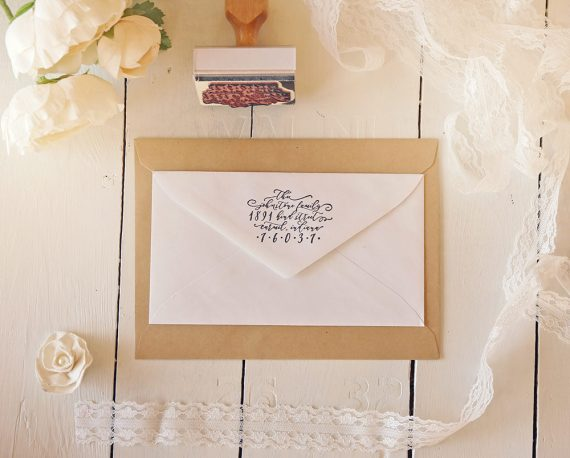 custom return address stamp wedding