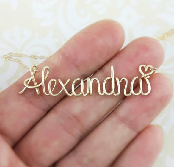 wire name necklace under $30