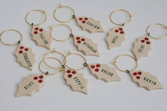custom wine charms - christmas theme