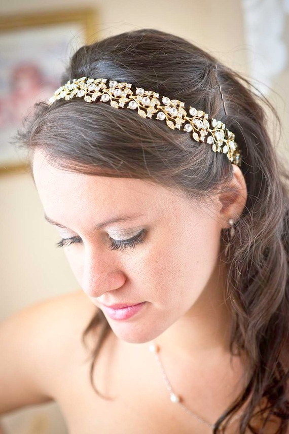 Crystal Bridal Headband with Ribbon