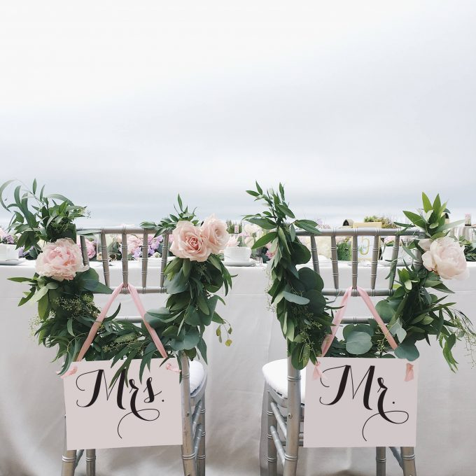 Mr and Mrs Chair Signs - via https://emmalinebride.com/decor/mr-and-mrs-chair-signs/