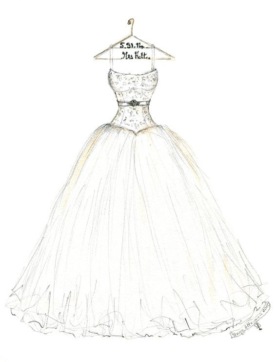 wedding dress sketch by dreamlines | via https://emmalinebride.com/bride/dress-sketch-wedding/