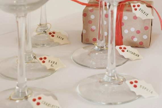 custom wine charms - christmas theme