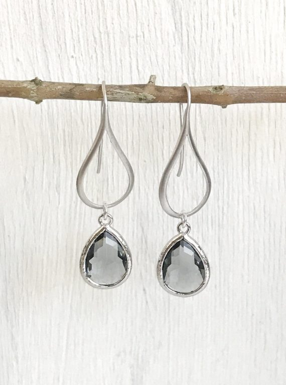 charcoal grey drop earrings