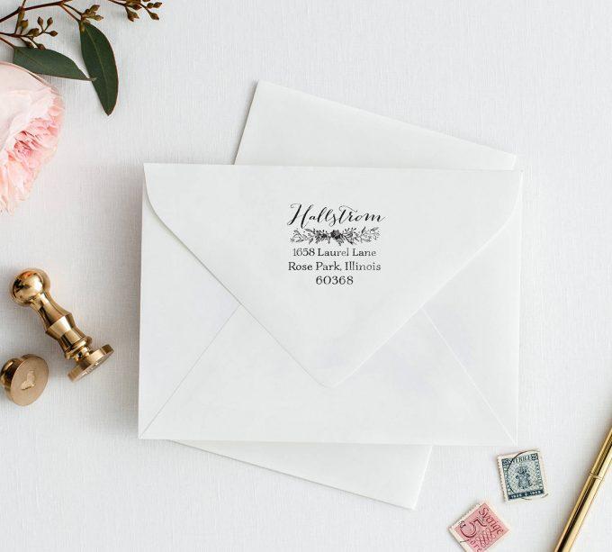 floral return address stamp